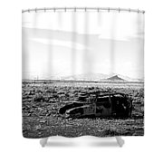 Rusty Car 3 - Black And White Shower Curtain