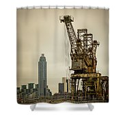 Rusty Cranes At Battersea Power Station Shower Curtain