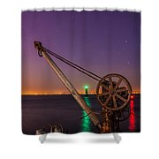 Rusty Davit And Two Lighthouses Shower Curtain by Semmick Photo