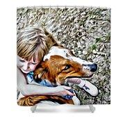 Rusty Dog Love Shower Curtain