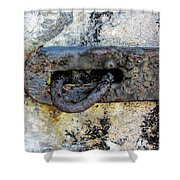 Rusty Dusty And Grimy Lock Plate Shower Curtain