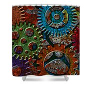 Rusty Gears On Grunge Texture Background Shower Curtain