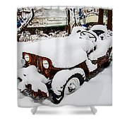 Rusty Jeep In Snow Shower Curtain