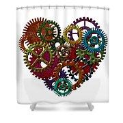 Rusty Metal Gears Forming Heart Shape Illustration Shower Curtain