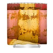 Rusty Oil Barrels Yellow Red Background Pattern Shower Curtain