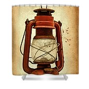 Rusty Old Lantern On Aged Textured Background E59 Shower Curtain