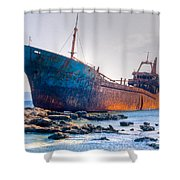 Rusty Old Shipwreck Aground  On Rocky Reef Shower Curtain