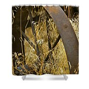 Rusty Old Wheel And Yellow Grasses Shower Curtain