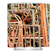 Rusty Railings Square Shower Curtain