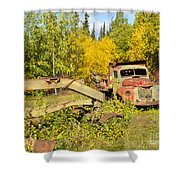 Rusty Truck And Grader Forgotten In Fall Forest Shower Curtain