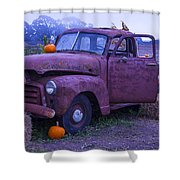 Rusty Truck With Pumpkins Shower Curtain