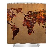 Rusty Vintage World Map On Old Metal Sheet Wall Shower Curtain by Design Turnpike