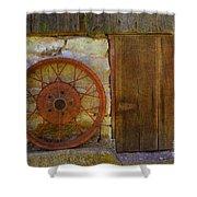 Rusty Wheel Shower Curtain