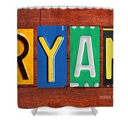 Ryan License Plate Name Sign Fun Kid Room Decor. Shower Curtain