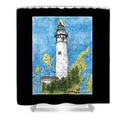 S Manitou Island Lighthouse Mi Nautical Chart Map Art Shower Curtain