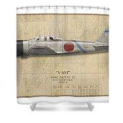 Saburo Sakai A6m Zero - Map Background Shower Curtain
