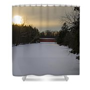 Sachs Covered Bridge At Sunrise In Winter Shower Curtain