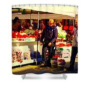 Sacks Of Potatoes Red Pepper Pots Tomato Baskets Marche Jean Talon Montreal Scenes Carole Spandau Shower Curtain