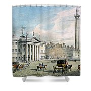 Sackville Street, Dublin, Showing The Post Office And Nelsons Column Shower Curtain