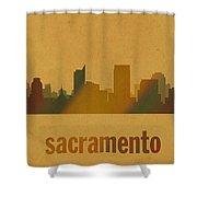 Sacramento California City Skyline Watercolor On Parchment Shower Curtain