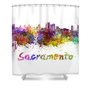 Sacramento Skyline In Watercolor Shower Curtain