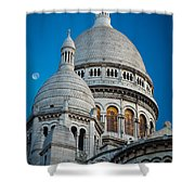 Sacre-coeur And Moon Shower Curtain