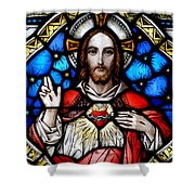 Sacred Heart Of Jesus In Stained Glass Shower Curtain