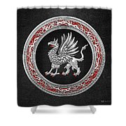 Sacred Silver Griffin On Black Leather Shower Curtain