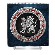 Sacred Silver Griffin On Blue Leather Shower Curtain