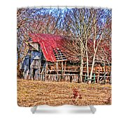 Sad Barn -  Featured In 'old Buildings And Ruins' Shower Curtain