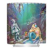 Sad Little Mermaid Shower Curtain by Zorina Baldescu