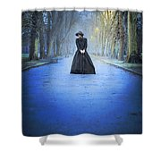 Sad Victorian Woman Alone In A Park At Dusk Shower Curtain