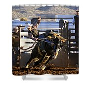 Saddle Bronc Riding Competition Shower Curtain