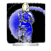 Safe Blue Woman Shower Curtain