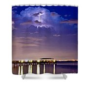 Safety Harbor Pier Illuminated Shower Curtain