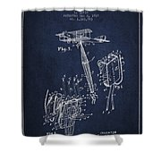 Safety Parachute Patent From 1919 - Navy Blue Shower Curtain