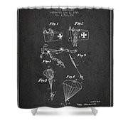 Safety Parachute Patent From 1925 - Charcoal Shower Curtain