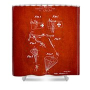Safety Parachute Patent From 1925 - Red Shower Curtain