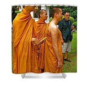 Saffron-robed Monks At Buddhist University In Chiang Mai-thailand Shower Curtain