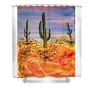 Saguaro Cactus Desert Landscape Shower Curtain
