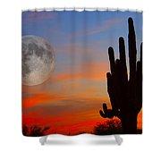 Saguaro Full Moon Sunset Shower Curtain