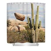 Saguaros And Big Rocks Shower Curtain