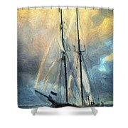 Sail Away To Avalon Shower Curtain by Taylan Apukovska