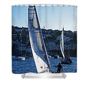 sail boat Penryn river Spring 2010 six Shower Curtain
