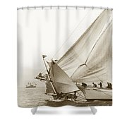 Sail Boats Little Anne And Virginia Collision On San Francisco Bay Circa 1886 Shower Curtain