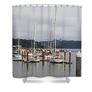 Sail Boats Waiting For Their Captains Shower Curtain