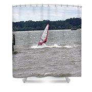 Sailboarder At Hilton Head Island Beach Shower Curtain