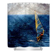 Sailboarding W Metal Shower Curtain