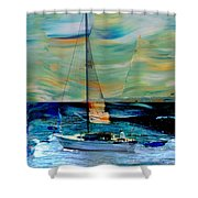 Sailboat And Abstract Shower Curtain