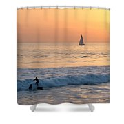 Sailboats And Surfers Shower Curtain